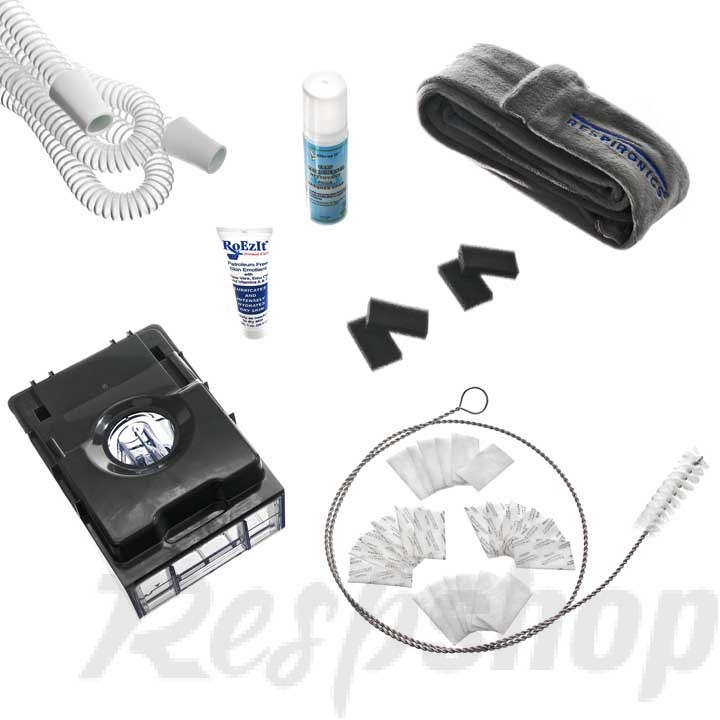 PR System One 60 Series CPAP Tubing, Filter & Humidifier Supply Kit with FREE Tubing Brush, Therapy Lotion & Mask Spray